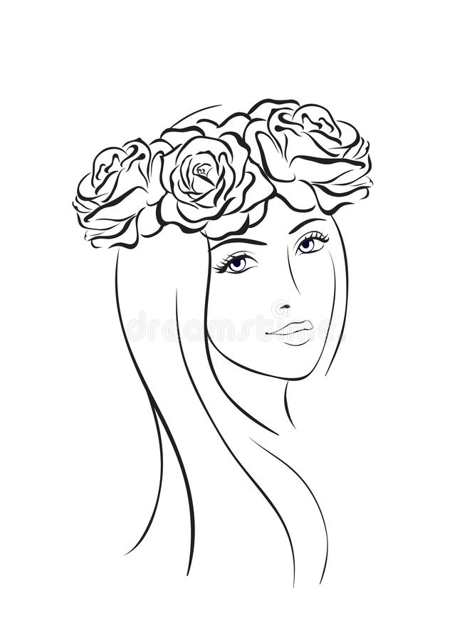 beautiful-woman-face-icon-beauty-wit-flower-wreath-sketch-line-style-87086343