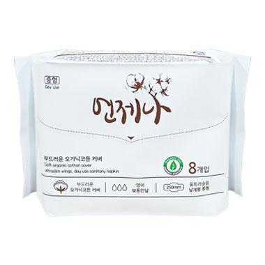 Băng vệ sinh Hữu Cơ Organic Cotton Eon Je Na-25cm-8 miếng  (Có cánh ban ngày)